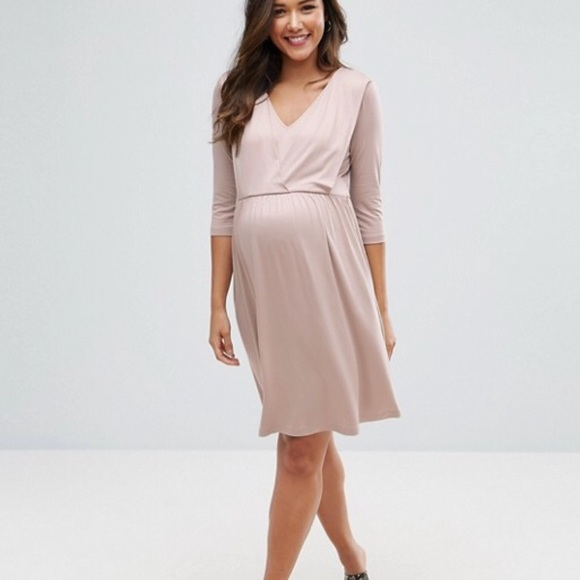 de6bb6fd24a ASOS maternity nursing drape front midi dress